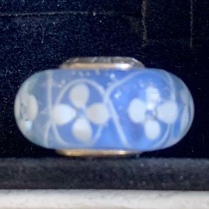 Blue Field of Flowers Murano Pandora Charm Silver